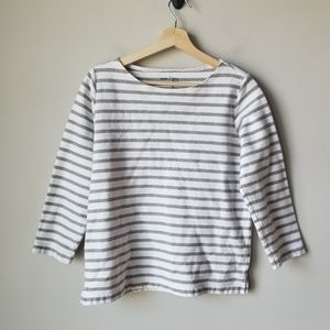 Muji 3/4 Sleeve Stripe White Gray Cotton Tee Large